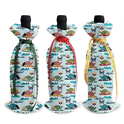 3 Stück Weinflaschenüberzug Surfen Corgis Dekoration Abdeckung Taschen Tischdekoration für Weihnachten Party Abendessen Dekoration Geschenk