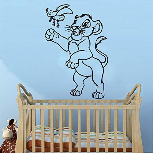 Le roi lion papillon petit lion sticker mural décor à la maison chambre d'enfant de bande dessinée animal