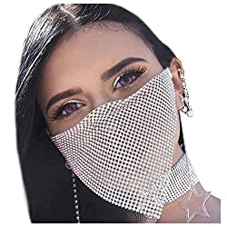 Silver Rhinestone Mask Chain Crystal Metal Masquerade Mask