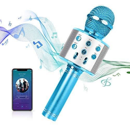 MAEXUS Karaoke Mikrofon Kinder, Bluetooth Karaoke Mikrofon mit Lautsprecher Drahtloses Bluetooth Mikrofon für Kinder Karaoke Mikrofon für iPhone/Android/iPad