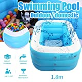 FINA Inflatable Swimming Pools Oversize - PVC Thickened Abrasion Resistant Inflatable Pool - Easy Set Swimming Pool - for Kids Adults Swimming Pools for Garden (70.86x53.14x20.86in, Blue)