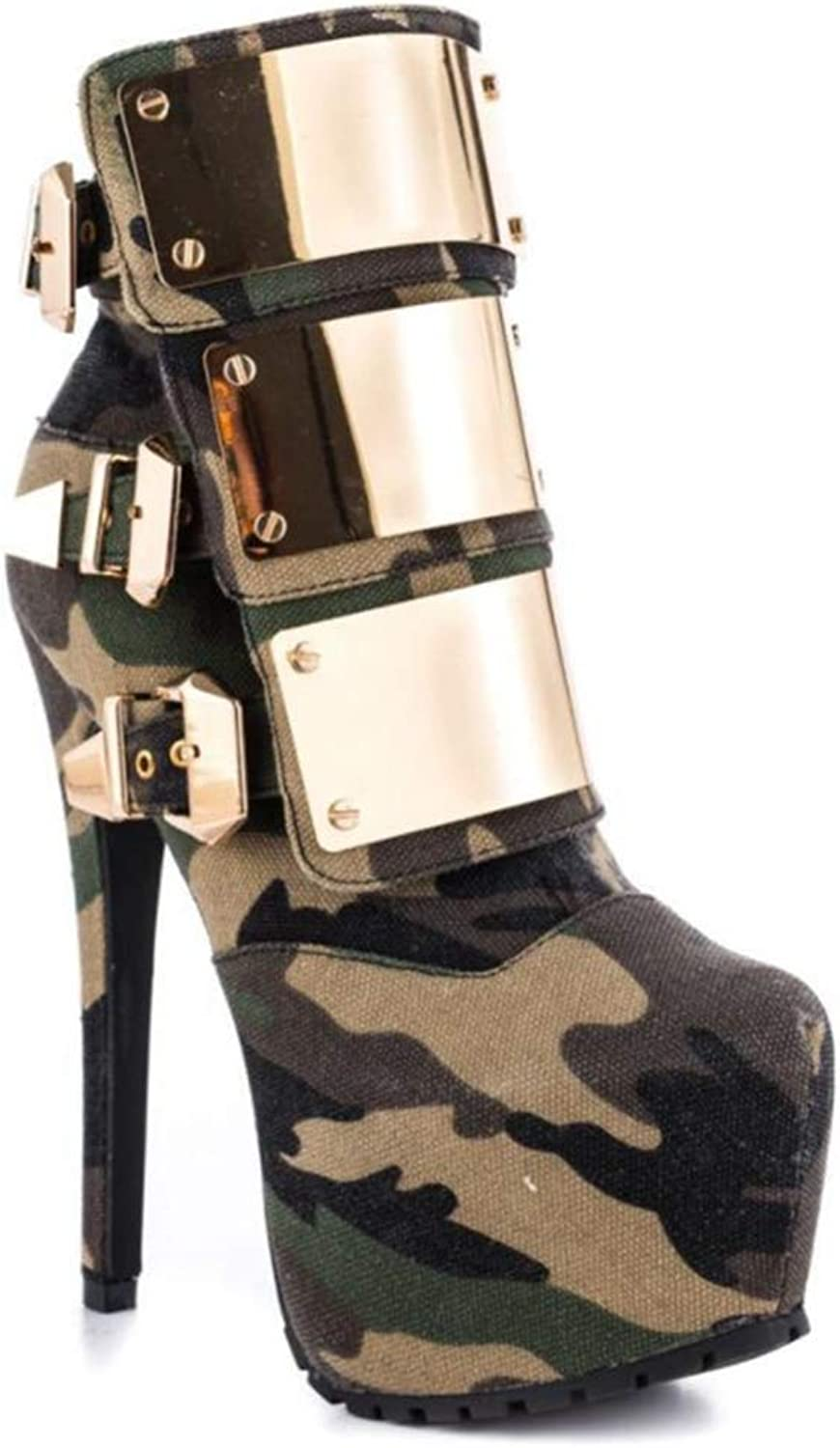 Shiney Women's Boots Waterproof Platform High Heel Shiny Metal Buckle Stiletto Heels Camouflage Ankle Boots,Multi-colord-34