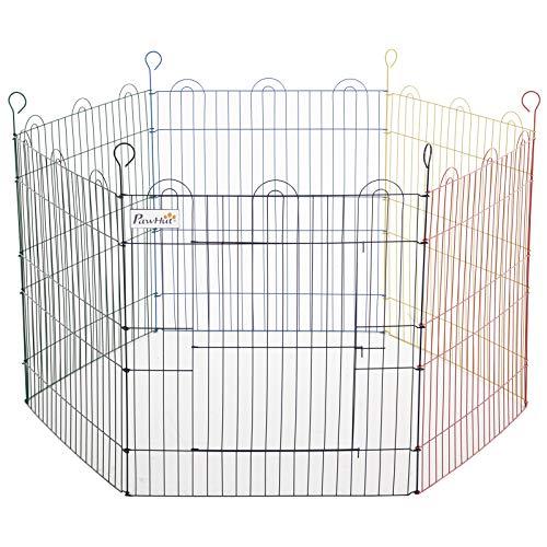 Pawhut Parque de Juegos para Mascotas Jaula Plegable para Perros de 6 Paneles para Jardín Patio Interior y Exterior Ø120x66 cm Multicolor