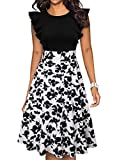 IHOT Women's Vintage Ruffle Floral Flared A Line Swing Casual Cocktail Party Dresses with Pockets (XXL, White&Black Flower)
