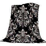 Moily Fayshow Decke Damast viktorianischen Stil Barock Floral wirbelnden Mustern Flanell Fleece leichte gemütliche Schlafsofa-Decken, 102 X 127 cm