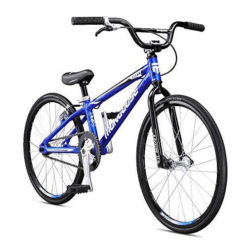 Mongoose Title Junior BMX Race Bike, 20-Inch Wheels, Beginner to Intermediate Riders, Lightweight Aluminum Frame, Internal Cable Routing, Blue