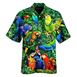 Tops for Men Hawaiin Colorful Parrot Print Short Sleeve Turn Down Collar Button T-Shirt Summer Ventilated Cool Blouse