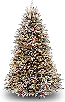National Tree Company Pre-lit Artificial Christmas Tree   Includes Pre-strung White Lights and Stand   Flocked with Pine Cones Red Berries and Snow   Dunhill Frosted Fir - 7 ft