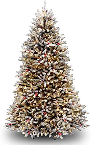 National Tree Company Pre-lit Artificial Christmas Tree | Includes Pre-strung White Lights and Stand | Flocked with Pine Cones, Red Berries and Snow | Dunhill Frosted Fir - 7 ft