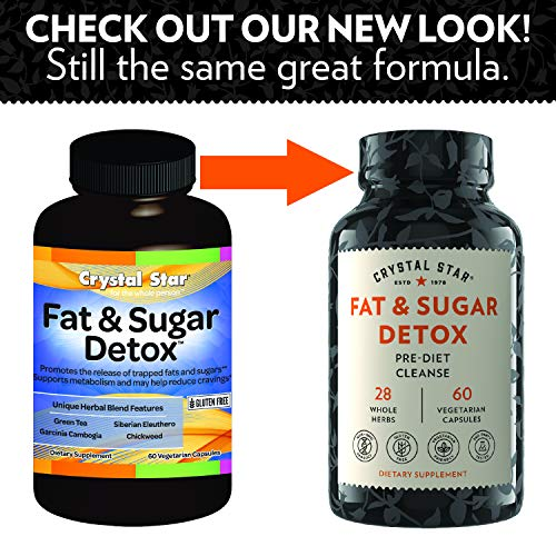 Crystal Star Fat & Sugar Detox (60 Capsules) – Herbal Diet Cleanse & Metabolism Boost Supplement to Help Release Fat & Curb Appetite - Green Tea Extract, CLA, Dandelion & Chickweed - Non-GMO