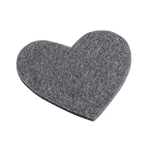 Trendy Filz-Herz dunkelgrau meliert, 5,5 x 6 cm, 4 Stück