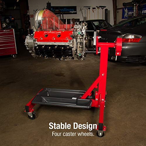 Sunex 8300GB, Foldable Engine Stand, ½ Ton Capacity, Self-Locking Worm Drive Gearbox, Foldable, Adjustable, Caster Wheels, Four Wheel Base
