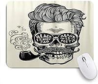 PATINISAマウスパッド 口ひげパイプと眼鏡碑文ヴィンテージと流行に敏感な紳士の頭蓋骨 ゲーミング オフィス おしゃれ 良い 滑り止めゴム底 ゲーミングなど適用 マウス 用ノートブックコンピュータマウスマット