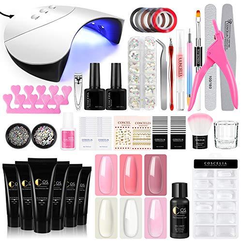 Coscelia Kit Poly Acrilico Gel Allunga le Unghie 6pz Poligel Unghie Finte con Lampada LED+UV per Unghie Fornetto, Kit Ricostruzione Unghie Gel per Nail Art Completo