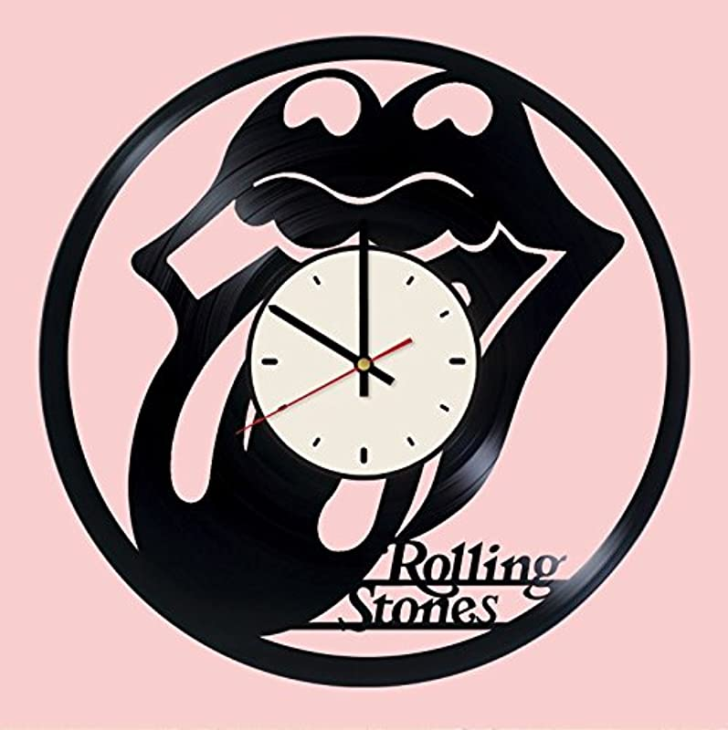 Pieceful Rolling Stones Artwork Vinyl Record Wall Clock Gift Idea For Birthday Christmas Women Men Friends Girlfriend Boyfriend And Teens Living Kids Room Nursery White Black