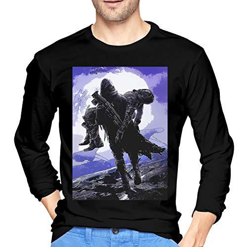 De-STI_NY 2 Camiseta de algodón para Hombre Fashion Camiseta de Manga Larga con Cuello Redondo Negro Medio