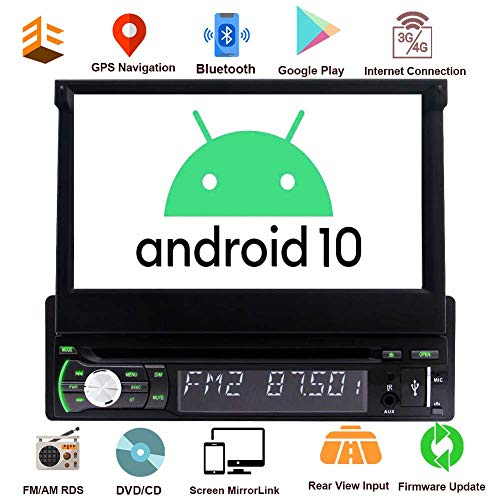 Single Din Autoradio Android GPS 1 Din Autoradio Bluetooth 7-Zoll-Flip Out-Screen-DVD-Player für Universal-Steuergerät 1 GB + 32GB mit WiFi USB/AM/FM / MP5 Rückfahrkamera Mirrorlink ODB2 SWC EQ-Modus
