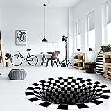 PICTURESQUE Alfombra sin Fondo Óptica de Ilusión 3D Alfombra Antideslizante de Celosía Redonda en Blanco y Negro para Sala de Estar y Dormitorio