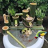 SGSG Decoración de Fuente de bambú, Caño de Agua para jardín con Bomba de Agua, Cuchara de bambú, Rueda de Agua, Cubo pequeño, Decoración de jardín, Cascada, 100 cm