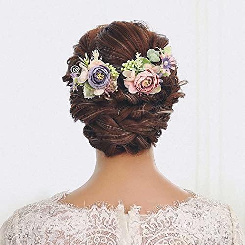 IYOU Nupcial Horquillas para el cabello Rosa Flor Pedazo de Cabello Sale de Paseo Boda Fuente Joyas por Novia y Dama de Honor (2 Piezas)