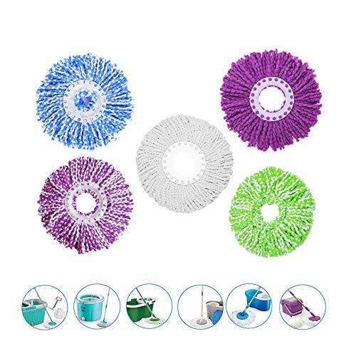 5 cabezales de repuesto de microfibra para fregona mágica de 360 ° Spin Magic Mop-Microfibra de repuesto 5 colores