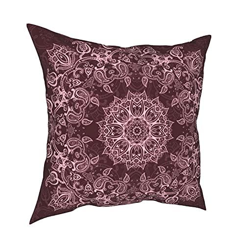 Fundas de almohada decorativas de mandala rosa, fundas de almohada personalizadas, fundas de cojín para sofá, dormitorio, coche, accesorios para el hogar de 50 x 50 cm