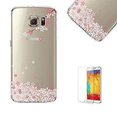 Para Samsung Galaxy S7Funda con libre Protector de pantalla, funyye Extreme ligero transparente claro suave TPU Gel caso de goma de silicona con bonito diseño de Oriental Cherry Sakura flor patrón impresión para Samsung Galaxy S7