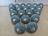 Juego de 20 tiradores vintage de cerámica, con distintos diseños de flores, ideales para puertas, armarios, cajones y...