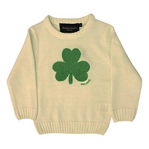 Irland-Pullover für Kinder, mit Rundhalsausschnitt und flauschigem Kleeblatt, cremefarben