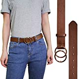 CHICING Double O Ring Circle Buckle Belt for Women Faux Leather Jeans Belt (Brown,S)