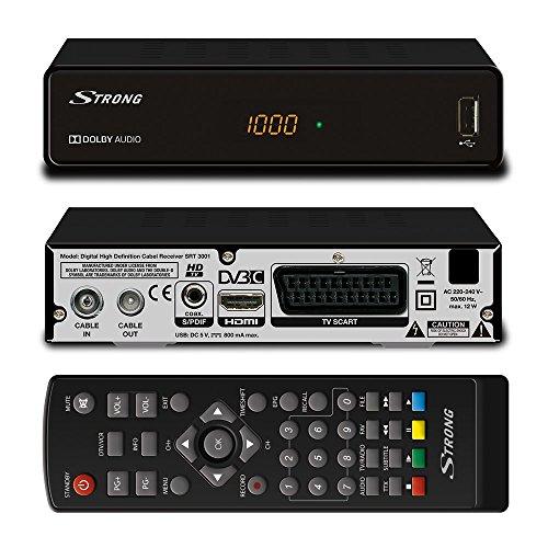 STRONG SRT 3001 HD Receiver für digitales Kabelfernsehen DVB-C Full HD (HDTV, HDMI, SCART, USB, Mediaplayer) schwarz