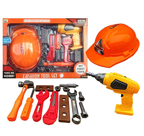 HTUK Children Tool Kit Including A Helmet And Accessories 15 Piece Kids Tool Set With Battery Operated Drill