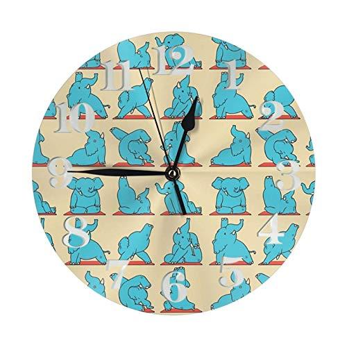 Elefante Yoga Reloj de pared redondo grande decorativo reloj de pared redondo estilo numeral moderno decoración del hogar para sala de estar (25 cm)