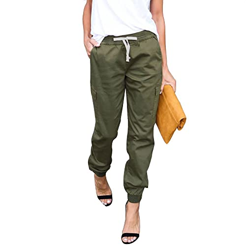 LINGMIN Women s Casual Twill Jogger Pants Drawstring Skinny Cargo Pants  with Pockets dc70ef272