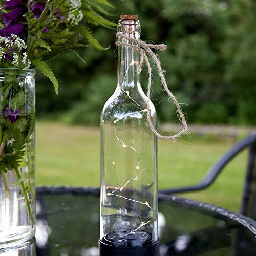 LED Solar-Lampe Bottle, dekorative Glas-Flasche | Outdoor-Lichterkette, Deko für Garten Terrasse Balkon | Photovoltaik, Partylicht IP44 Lampion mit Batterie & Dämmerungssensor | Bier, Wein Transparent