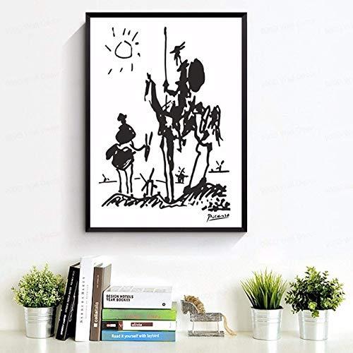 N / A Abstracto Tang Jide lienzo impreso mural retro pintura al óleo de la sala de estar decoración del hogar en blanco y negro arte 30 x 45 cm sin marco