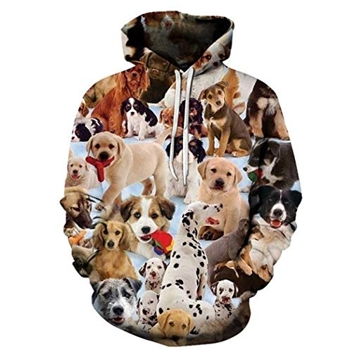 Hombres Mujeres Cute Animal Dog 3D Sudadera con Capucha Hip Hop Streetwear Pullover Sudadera con Capucha Tops Casual Chándal Tallas Grandes Hoodies 5XL