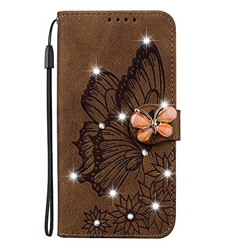 Funda de piel con tapa para OnePlus Nord N200 5G, diseño de mariposa, diseño retro, con brillantes, color marrón