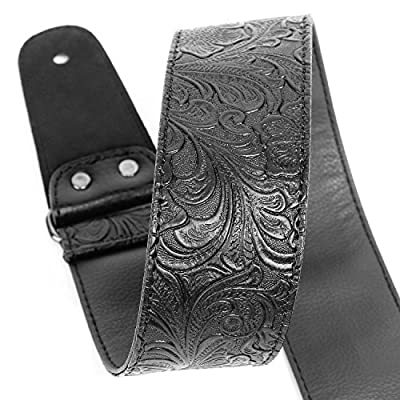 Guitar Strap, Vintage Leather Guitar Strap PU Leather Strap with Geniune Leather Ends for Electric Bass Guitar,Wide Adjustment Range, with Tie,Include 2 Picks