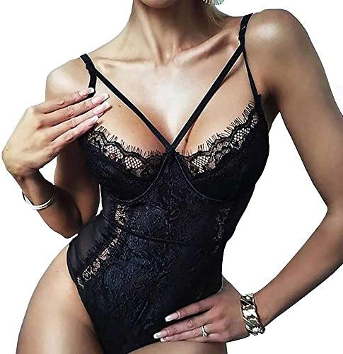 Buitifo Womens Sexy Bodysuit Lingerie One Piece Babydoll V Neck Teddy Snap Crotch XL Black product image