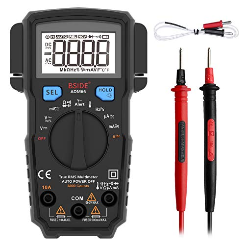 BSIDE Pocket Digital Multimeter True RMS 6000 Counts Auto-Ranging Electricians DMM Temperature Capacitance Diode Hz V-Alert Current Voltage Multi Tester Meter with 2 Side Probe Holder