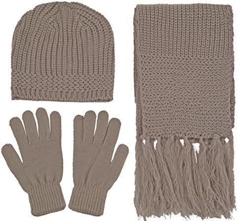 Gually 1Set Winter Warm Knitted Wool Hat Scarf Gloves Set for Outdoor