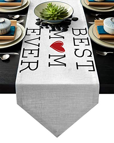 FAMILYDECOR Linen Burlap Table Runner Dresser Scarves, Best Mom Ever and Heart Pattern Kitchen Table Runners for Farmhouse Dinner, Holiday Parties, Wedding, Events Decor 16x72 Inch