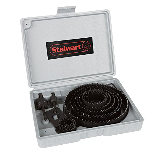 """Stalwart - 75-PT1027 Hole Saw Set 16 Piece Kit With 12 Saws ( ¾""""-5 Inch), Hex Key Wrench, Drive Plate and Storage Case by"""