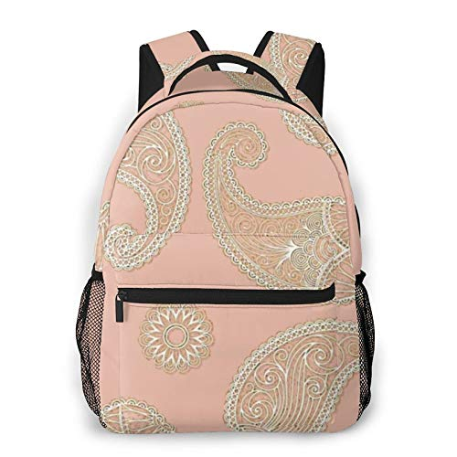 Pink Sand Pale Rose Gold Beige Paisley Lace Pattern Backpack Men'S And Women'S Daypack Casual Bookbag Girls And Boys Best Schoolbag