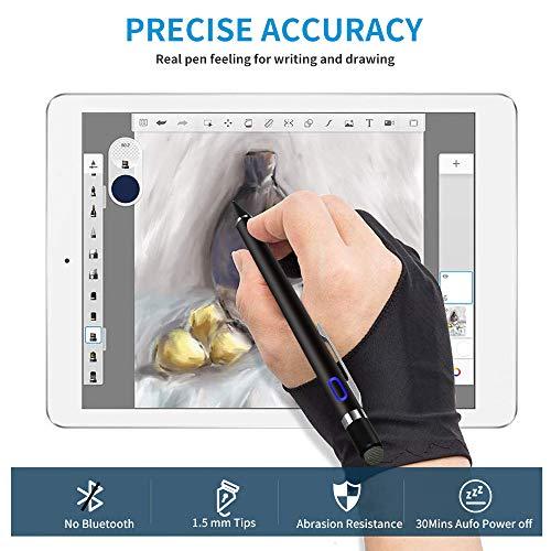 Aktiver Stylus Pen für sämtliche Touchscreens, 1,5mm Feiner Spitze Tablet Stift, Wiederaufladbar Eingabestift Kompatibel mit iPad iPhone Huawei Samsung Smartphones und Anderen Touchscreen Geräten