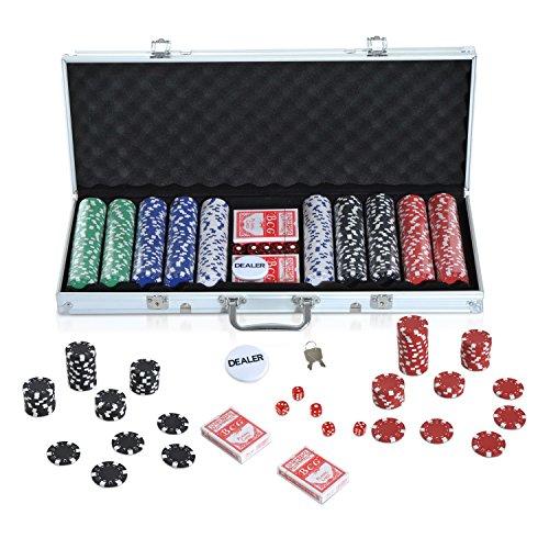 HOMCOM Maletín de Poker Profesional con 500 Fichas y 2 Barajas Juego Set de Poker Casino Aluminio 5 Dados, 2 Barajas y 1 Ficha de Crupier