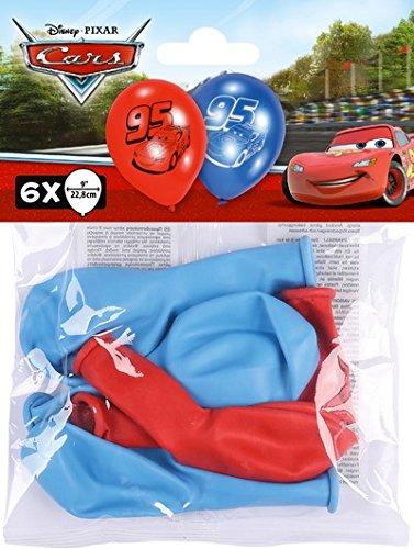 ILS I LOVE SHOPPING Juego de 6 globos de látex Disney Cars para coche para fiestas y cumpleaños multicolor (Cars)