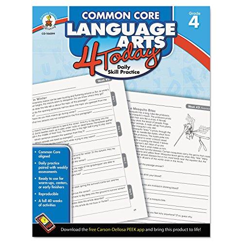Carson Dellosa Common Core 4 Today Workbook, Language Arts, Grade 4, 96 Pages (CDP104599)