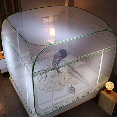 Yvst Opvouwbaar transparant mesh afdekking overkapping muggennet bed pop-upmoskitonnet tent, bedgordijn overkapping bednet jurtennet, geschikt voor huis, camping in de buitentent